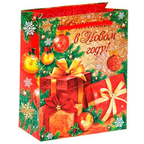 """Ламинированный подарочный пакет """"Счастья в Новом году!"""" - 1"""